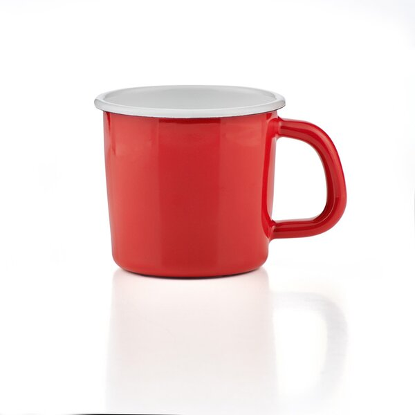 Emaille Tasse Becher Kaffeetasse campingtasse solid line rot