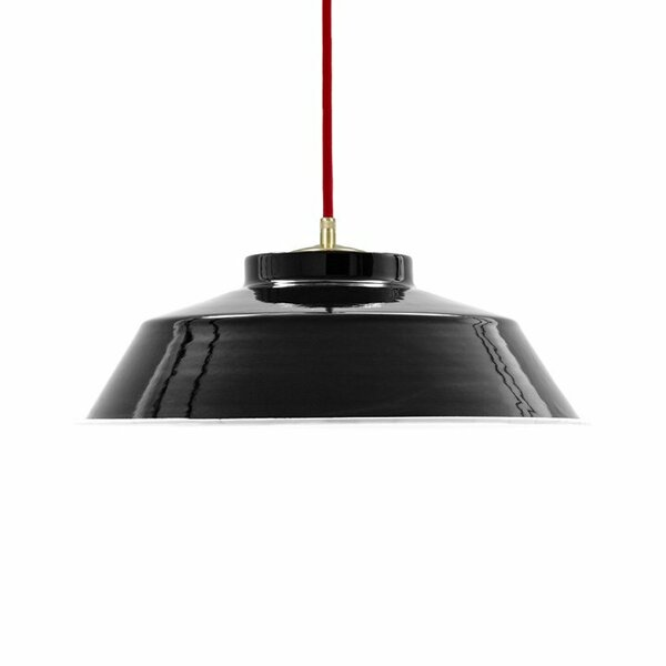 Emaille Lampe Emailleleuchte 35cm rotes Textilkabel