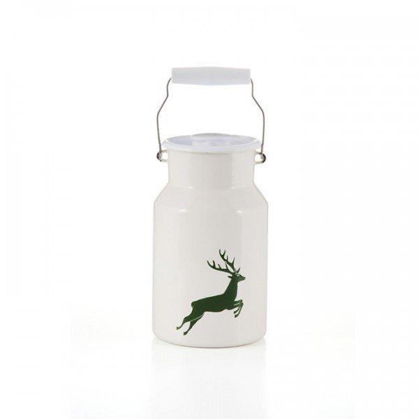 Emaille riess Milchkanne Hirsch grün 1,5 Liter
