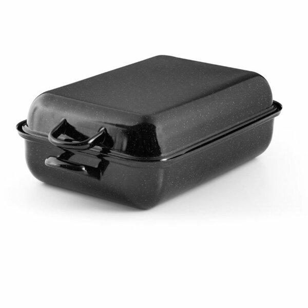 Emaille Riess Bräter schwarz Bratpfanne mit deckel