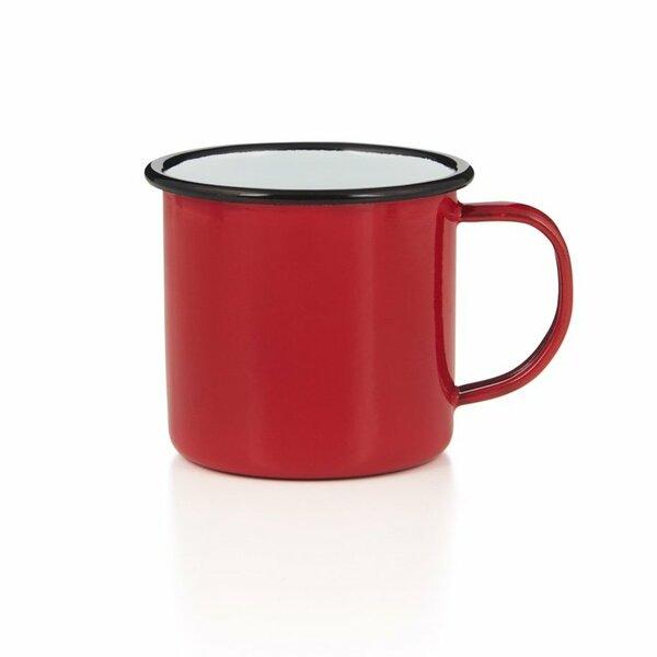 Emaille Tasse Bescher 400ml rot