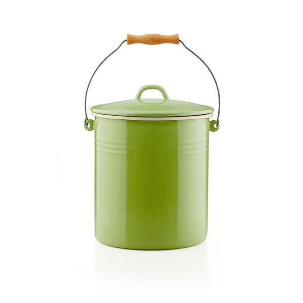 Emaille Mülleimer 10 Liter Eimer grün