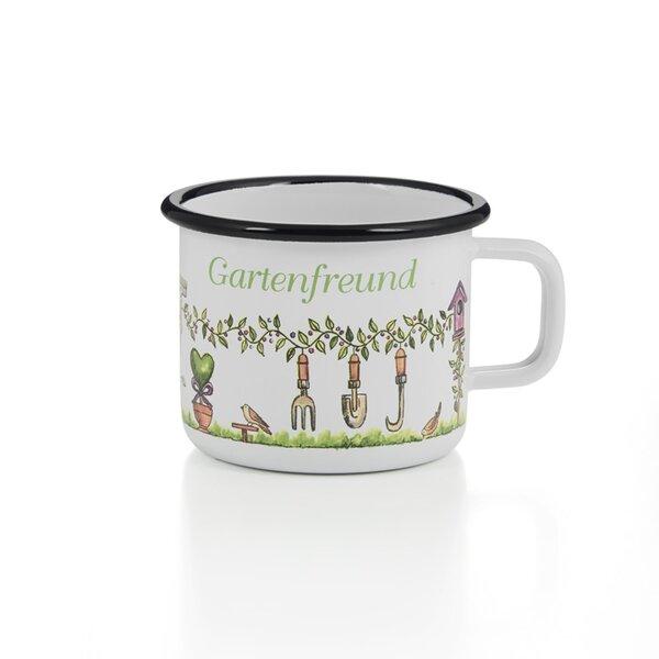 Emaille Tasse Becher Gartenfreund weiß mit schwarzem Rand Becher 400ml