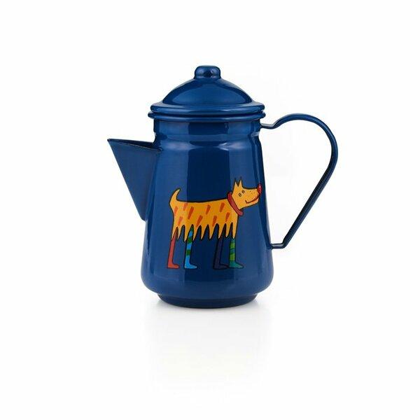 Emaille Kinder Kaffeekanne Zoo blau