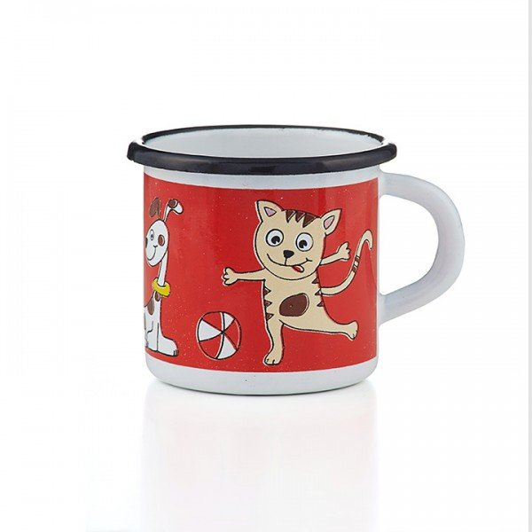 Emaille Kindertasse Katze Hund