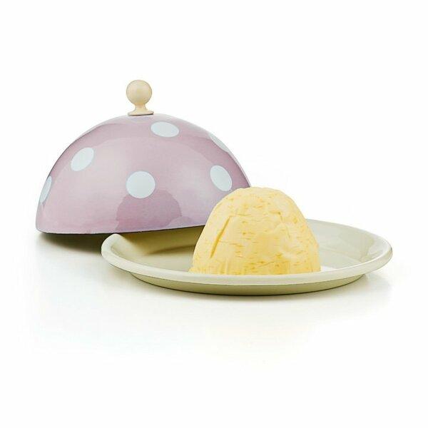 Emaille Butterglocke Butterdose rosa mit weißen punkten