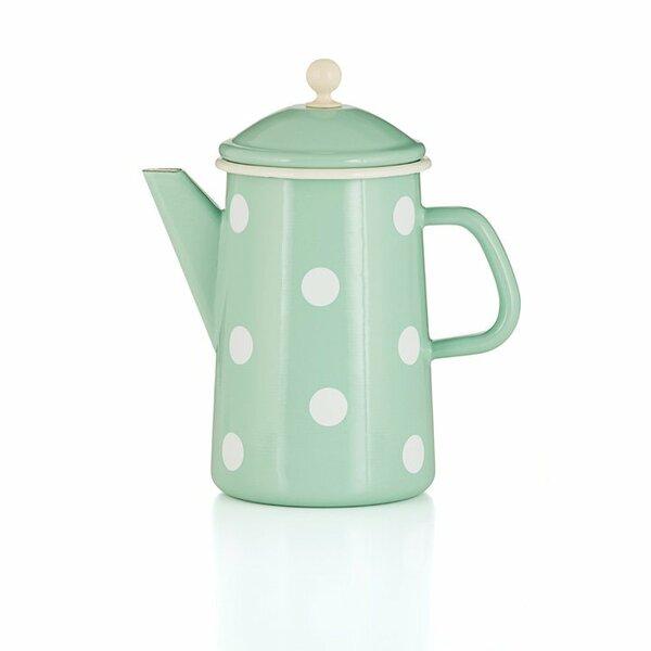 Emaille Kaffeekanne mit Knauf mintgrün Tupfen