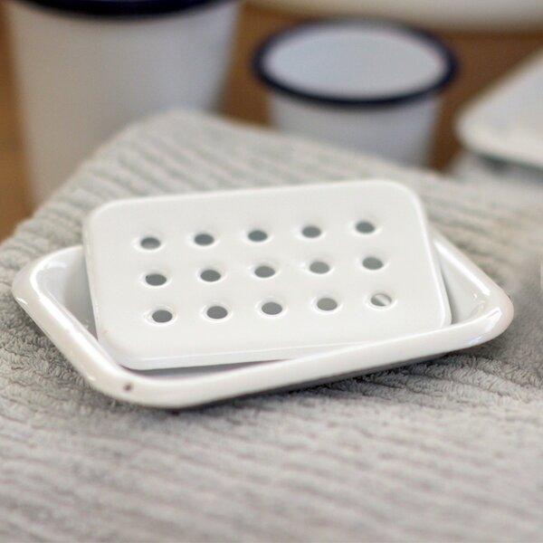 Emaille Seifenschale Seifendose weiß reinweiß