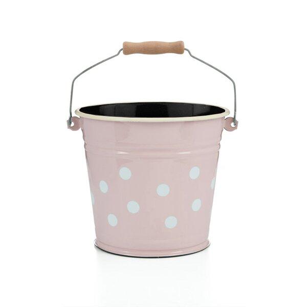 Emaille Eimer 6 Liter rosa mit weißen Punkten