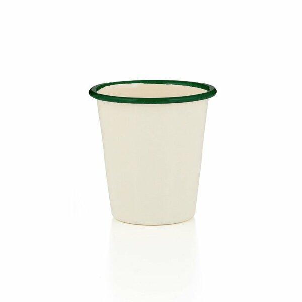 Emaille Becher creme grün