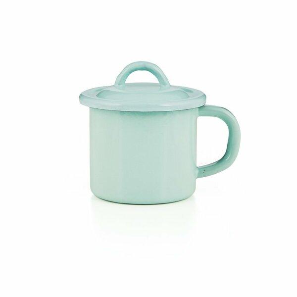 Emaille Tasse mit Deckel hellgrün