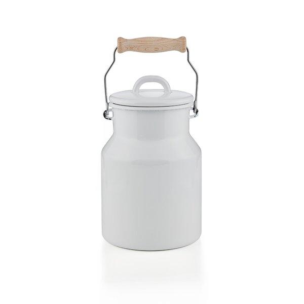 Emaille Riess Milchkanne mit Holzgriff weiß 1,5 Liter